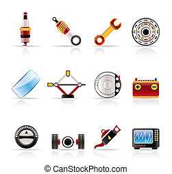 Realistic Car Parts and Services icons - Vector Icon Set 1