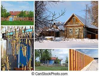 Village, photo collage. All Seasons