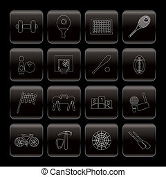 Line Sports gear and tools icons - vector icon set