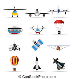 different types of Aircraft Illustrations and icons - Vector...