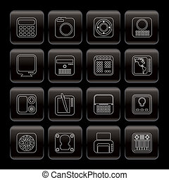 Hi-tech and technology equipment - vector icon set
