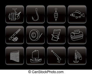 Simple Fishing and holiday icons - Simple Fishing and...