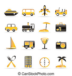 Travel, transportation, tourism and holiday icons - vector...