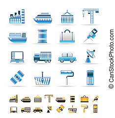 Industry and Business icons - vector icon set 2 colors...