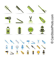 hairdressing, coiffure and make-up icons - vector Icon Set -...