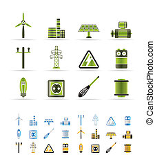 Electricity and power icons - vector icon set - 3 colors...