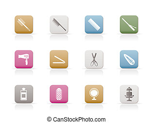 hairdressing, coiffure and make-up icons  - vector icon set