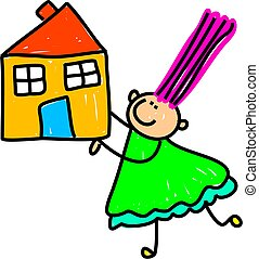 House Kid - Cute whimsical child like drawing of a little...