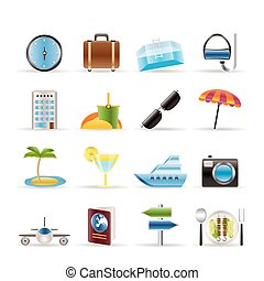 travel, trip and tourism icons - vector icon set