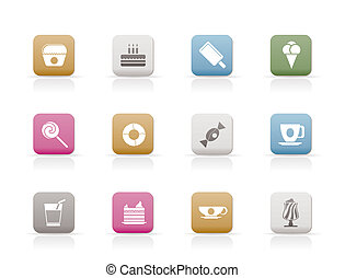Sweet food and confectionery icons
