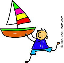 Boat Kid - Cute cartoon whimsical childlike drawing of a...