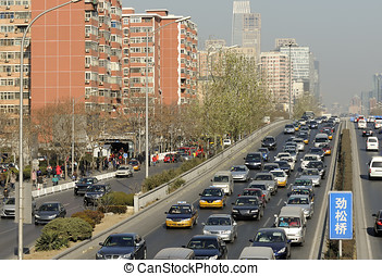 Traffic jam at a highway in Beijing, China