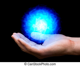 blue fireball on hand - blue power fireball on man's hand