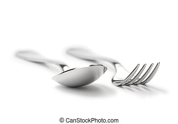 limpio, tenedor, Cuchara