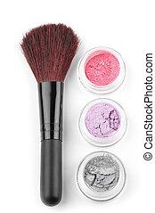Make-up brush and eye shadows