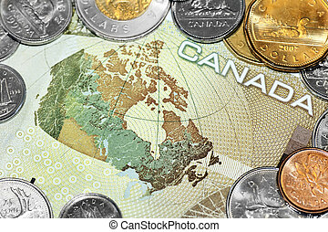Map of Canada on money bill - Close up of a one hundred...