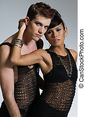 Black Mesh - Beautiful young couple dressed in black mesh