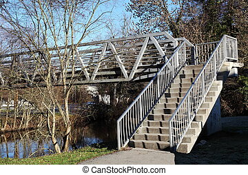 Urban Pedestrian Bridge And Stairs - 2. Empty stairs leading...