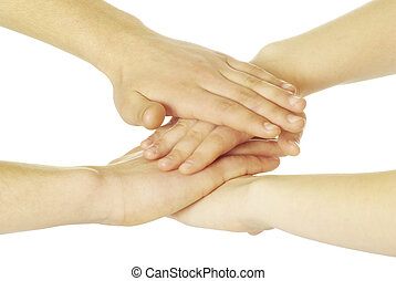 pile of hands isolated on a white