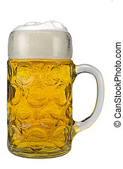 glass of german bavarian beer - isolated glass of german...