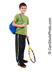Tennis boy isolated on white - Portrait of a cute kid with...