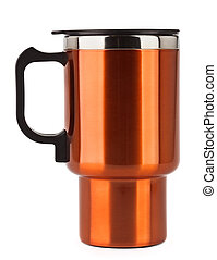Orange thermos mug with black handle isolated on white