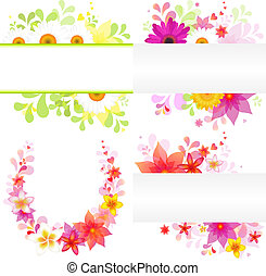 Floral Background - 4 Flower Elements Of Design, Isolated On...