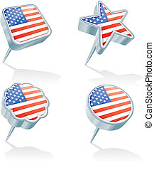 Four USA pins - Four metal 3D pins in various shapes with...