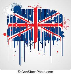 Melting UK flag - Melting and splatter union jack flag with...