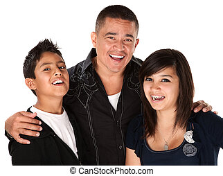 Father with Two Children - Smiling Hispanic father with...