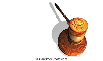 Gavel Hit On White - High definition animation of a wooden...