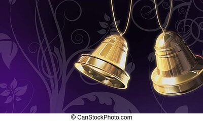 Gold Bells on Purple Loop - High definition animation of...