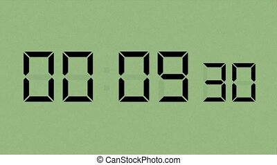 Green LCD Countdown HD - High definition animation of an LCD...