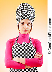 jovem, femininas, cozinheiro, contra, gradiente, fundo