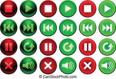 Shiny player buttons - Set of media player buttons in up,...