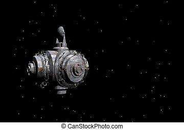 Spinning Satellite - Satellite spinning in a starfield