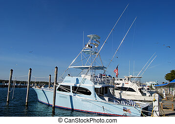 Sport Fishing Boat - Sport fishing boat docked at a...