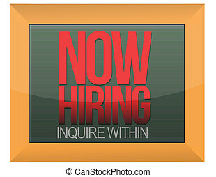 now hiring sign - An image of a now hiring sign.