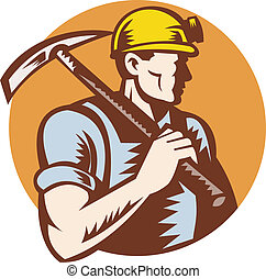Coal miner at work with pick ax - illustration of a Coal...