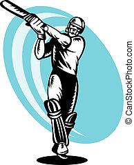 cricket batsman batting - illustration of a cricket batsman...