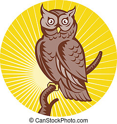 Great Horned Owl perching branch - illustration of a Great...
