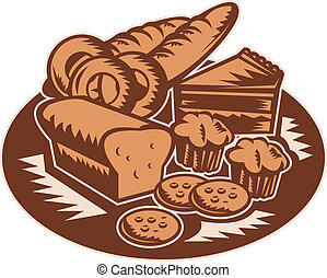 pastry products - retro style illustration of pastry...