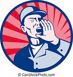 worker shouting hands on mouth - illustration of a worker...