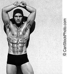 Shirtless man - Sexy fine art black and white portrait of a...