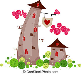 Love Tower - Illustration of Towers Standing Side by Side