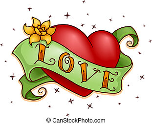Heart Tattoo - Illustration of a Tattoo with a Heart Design