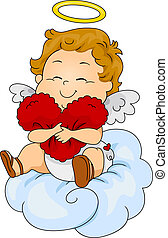 Baby Cupid Pillow - Illustration of a Baby Cupid Hugging a...