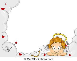 Baby Cupid Frame - Illustration of a Baby Cupid Resting His...