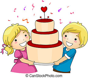 Valentine Cake - Illustration of a Pair of Kids Carrying a...