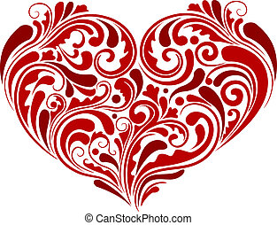 Heart Design - Illustration of Abstract Swirls Forming the...